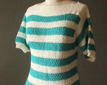 Vintage 70's Turquoise and White Nautical Stripe Knit Short Sleeve Pullover Sweater