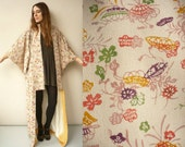 Vintage Japanese Abstract Floral Pattern Full Length Kimono Robe Duster Jacket