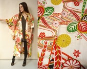1960's Vintage Japanese Hand Painted Floral Kimono Duster Jacket XS