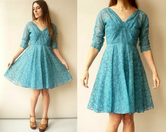 1950's Vintage Blue Organza Full Skirt Floral Prom Party Dress Evening Dress Size XS