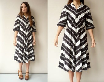 1950's Style Vintage Cotton Chevron Stripe Day Dress Size S/M