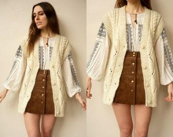 1970's Vintage Chunky Handknitted Bohemian Festival Waistcoat