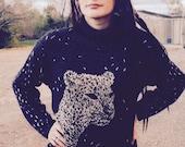 80's Leopard Sweater, Black Gray Leopard Face Sweater Dress, Oversized Cheetah Sweater