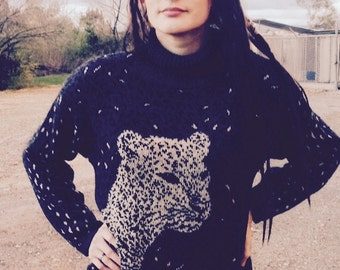 80's Leopard Sweater, Black Gray Leopard Tiger Face Sweater Dress, Oversized Cheetah Sweater