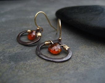 Spessartine briolette dangle earrings - sterling silver and gold filled