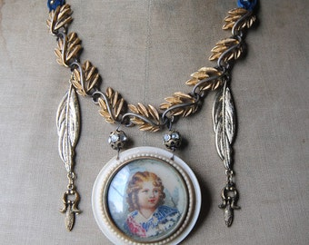 French Country Boy--Antique Hand Painted French Brooch Leaf Metal Tassel Vintage Velvet NECKLACE