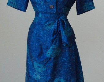 1950s Nina Ricci Boutique Paris // Couture Silk Sarong Style Dress with Cropped Jacket // Floral Print - Medium