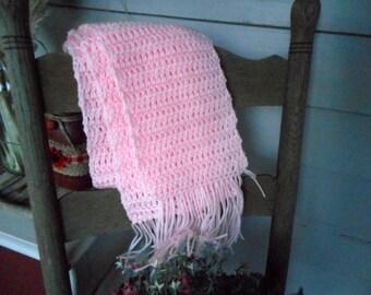 The Rose Quartz Pink Crochet Scarf. Homespun Gypsy Bohochic Hand Crocheted Fringe Scarf.