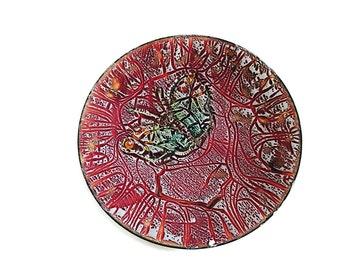Vintage 60s Enamel Tray Round Enamel Dish Mid Century Decor Maroon Enamel on Copper Plate Abstract Butterfly Signed Enamel Art Plate