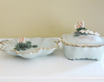 Vintage Grayson Arts of California Flowered Dish and Lidded Trinket Box
