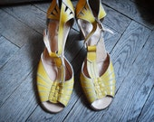 Yellow Sandals, egg yellow Peeptoe Summer shoes, yellow heels size 8.5, 40 european