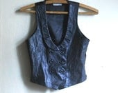 Black Leather Vest, Jack Sparrow pirate vest with lapels, dark grey real Leather womans vest size small