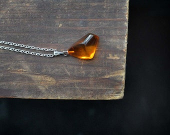 Glowing Orange RED Amber Pendant, glowing Genuine amber Drop bead Necklace on Silver plated chain