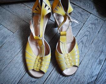 Yellow Sandals, egg yellow Peeptoe Summer shoes, yellow heels size 8.5, 40 european