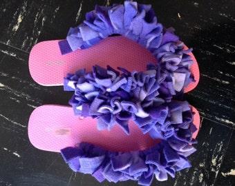 Fun Fuzzy Flip Flops in Royal  Purple