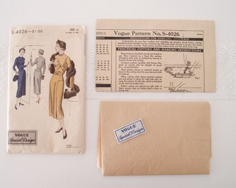 1940s Vogue Special Design dress pattern  S-4026 unused with sew-in label