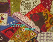 Patchwork Print, Craft or Quilting Cotton Fabric, Moda, Crazy Quilts, Red Green, half yard, B35