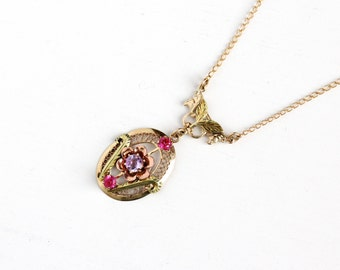 Sale - Vintage 10k Yellow, Green, Rose Gold Amethyst & Created Ruby Flower Lavalier Necklace - Vintage Purple, Red / Pink Stone Fine Jewelry
