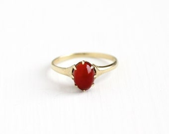 Sale - Antique 10k Yellow Gold Carnelian Solitaire Ring - Edwardian Ostby & Barton OB Art Deco Early 1900s Red Cabochon Gem Fine Jewelry