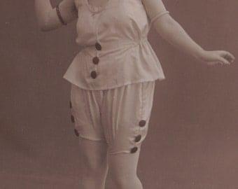 Pierrette Wants to Play Catch! Precious French RPPC circa 1920s