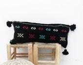 Moroccan Kilim Cushion with black pompoms
