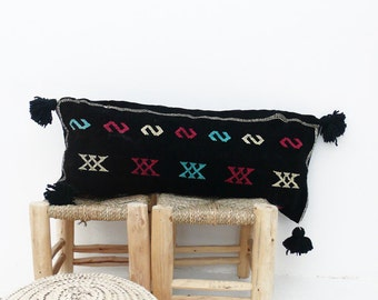 Moroccan Kilim Cushion with black pompoms