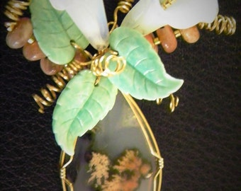 Rare Texas Plume Cabochon Wired in Gold with Sun Stone Beads
