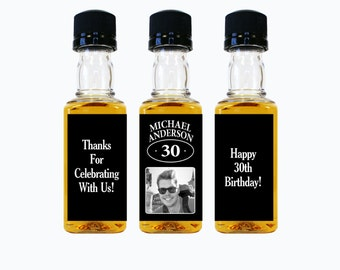 Custom Whiskey Mini Bottle Labels Adult Birthday Favors Guys Mens 21st 30th 40th 50th 60th Birthday Celebration Photo Whisky Gifts EB-1140