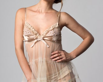 INESS Nude Silk Satin and Cream Tulle ruffled babydoll  and Guipure lace