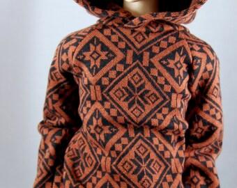 SD, SD13 Boy BJD Hoodie (Hoody) in Geometric Black & Rust Orange-Brown with Large Hood - Fits Girl Dolls Loosely