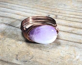 size 9.25 , 9 1/4 purple chevron amethyst stone antique copper wire wrapped ring - gemstone hippie jewelry men women natural metaphysical