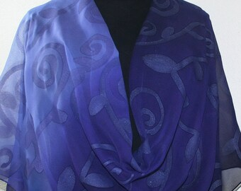 Purple Lavender Hand Painted Chiffon Silk Shawl PURPLE TWILIGHT. Luxurious Big 22x90, Silk Scarves Colorado. Elegant Wedding Silk Wrap