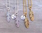 Bride Tribe, Bachelorette Favor, Feather Necklace, Bridesmaid Necklace, Gold Feather, Silver Feather