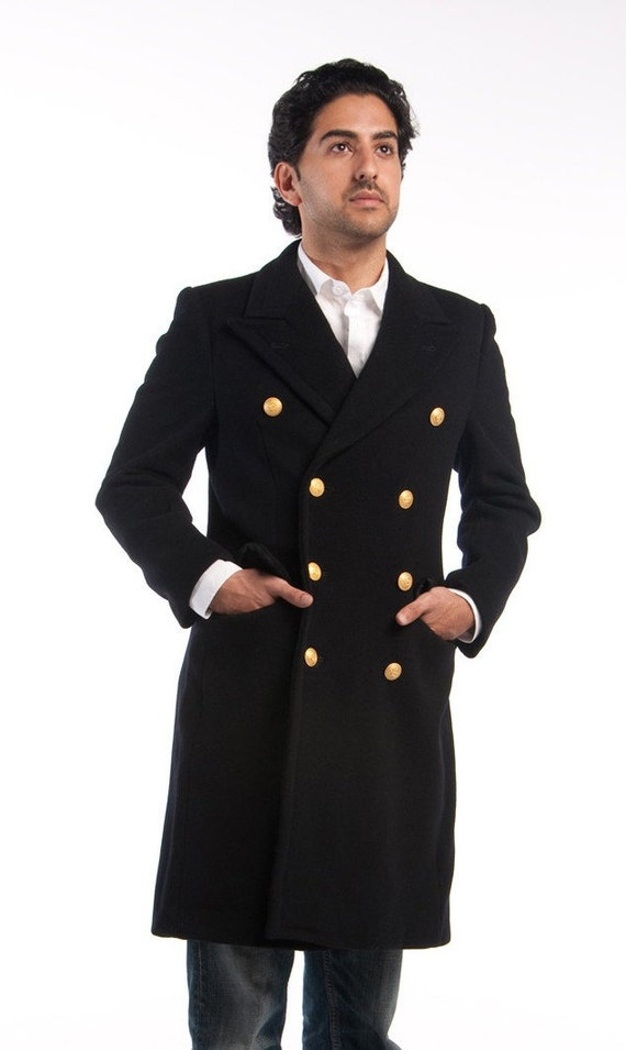 1970's MILITARY STYLE VINTAGE Italian Navy Officer Peacoat