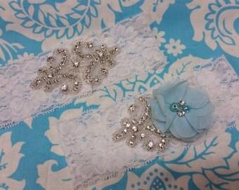 White Wedding Garter set  , stretch lace garter, crystal, rhinestone, blue  chiffon flower,