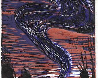 Linocut Print Murmuration Florida Tree Swallows