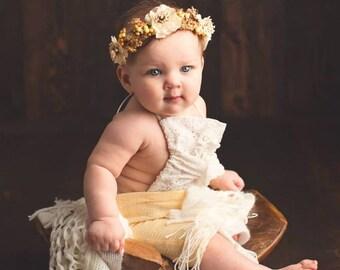 Our vintage ivory halo headband,Ivory and gold halo,flower crown,fall headband,fairy headband,flower girl headband, ready to ship