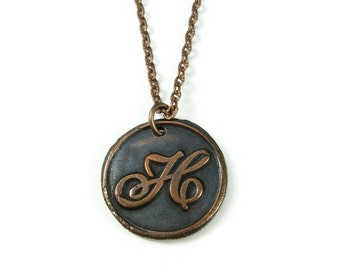 Letter H Necklace | Wax Seal Initial Pendant Necklace in Copper | Double-Sided Letters | Handcrafted Personalized Monogram Jewelry