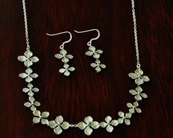 Silver Hydrangea Flower Lei Jewelry Set - Necklace and Matching Earrings, Wedding Jewelry, Bridal Jewelry,Delicate Feminine, Nature Inspired