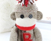 Valentine's Gift Children's Personalized Classic Traditional Sock Monkey Doll, More Colors Available
