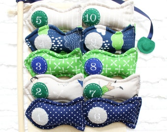 Magnetic Fishing Set Counting Game, Kid's Handmade Toys, Greatest Adventure, Blue Green and Grey