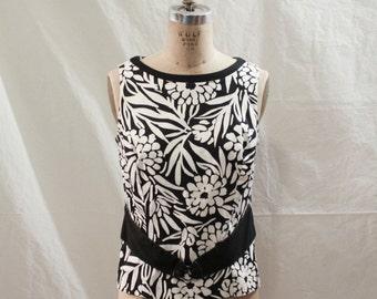 Black and White Sleeveless Blouse