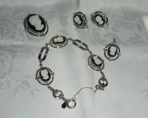 Classic Cameo Black & White Designer Signed 14k G.F. Pendant Brooch Bracelet Earrings