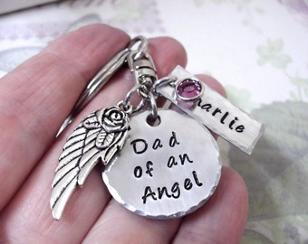 Super Sale Now Dad of an Angel - Daddy's Angel - Infant Loss - Memorial Keychain - Child Loss - Miscarriage - Memorial Keychain