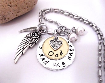 Super Sale Now Dad Memorial Jewelry, Dad Memorial Necklace, My Dad My Angel, Dad Bereavement, Loss of Dad, Dad Loss, Loss of Parent
