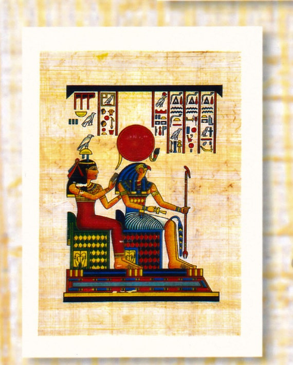 Isis (goddess of Motherhood) and Horus (her son-god of light) Egyptian papyrus notecard. Unique design, unique gift. Egyptian gods, goddess