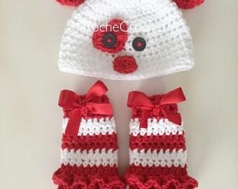 Valentine puppy hat and diaper cover, valentine photo prop, newborn photo prop, baby puppy hat, infant doggy hat, crochet dog hat, valentine