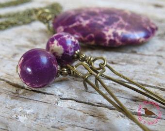 Rustic Purple Dangle Earrings, Amethyst Imperial Jasper Earrings, Long Boho, Rustic Purple Vintage Brass Earrings,by MagpieMadness for Etsy