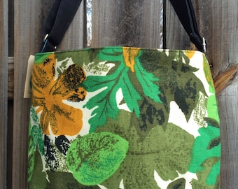 Diaper Bag, Cross Body Purse, Large, zipper closure, lots of pockets - Vintage fabric - green and yellow leaves