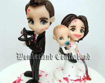 Zombies and a Baby Wedding - Wedding Cake Topper - Standard Size - ORIGINAL OOAK Miniature Sculptures - Decor